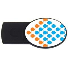 Fish Arrow Orange Blue USB Flash Drive Oval (2 GB)