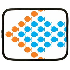 Fish Arrow Orange Blue Netbook Case (large)