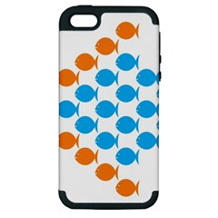 Fish Arrow Orange Blue Apple iPhone 5 Hardshell Case (PC+Silicone)