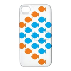 Fish Arrow Orange Blue Apple iPhone 4/4S Hardshell Case with Stand