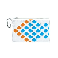 Fish Arrow Orange Blue Canvas Cosmetic Bag (S)