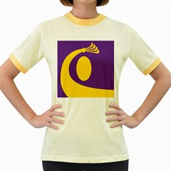 Flag Purple Yellow Circle Women s Fitted Ringer T-Shirts