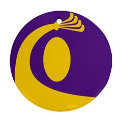 Flag Purple Yellow Circle Round Ornament (Two Sides)