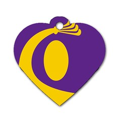 Flag Purple Yellow Circle Dog Tag Heart (Two Sides)