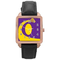 Flag Purple Yellow Circle Rose Gold Leather Watch
