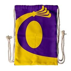 Flag Purple Yellow Circle Drawstring Bag (Large)