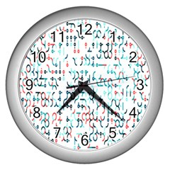 Connect Dots Color Rainbow Blue Red Circle Line Wall Clocks (Silver)