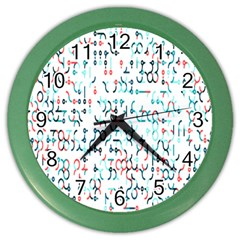 Connect Dots Color Rainbow Blue Red Circle Line Color Wall Clocks