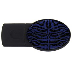 Skin2 Black Marble & Blue Leather Usb Flash Drive Oval (2 Gb)
