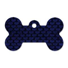 SCA3 BK-MRBL BL-LTHR (R) Dog Tag Bone (One Side)
