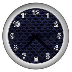 SCA3 BK-MRBL BL-LTHR Wall Clocks (Silver)