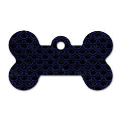 SCA2 BK-MRBL BL-LTHR Dog Tag Bone (Two Sides)