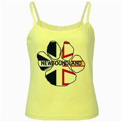 Newfoundland And Labrador Flag Name Paw Yellow Spaghetti Tank