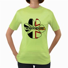 Newfoundland And Labrador Flag Name Paw Women s Green T-Shirt