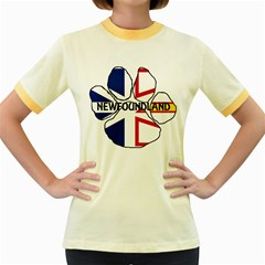 Newfoundland And Labrador Flag Name Paw Women s Fitted Ringer T-Shirts