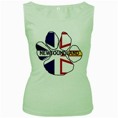 Newfoundland And Labrador Flag Name Paw Women s Green Tank Top
