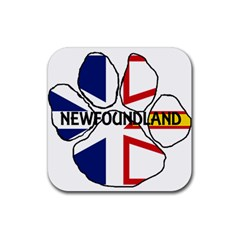 Newfoundland And Labrador Flag Name Paw Rubber Coaster (Square)