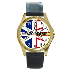 Newfoundland And Labrador Flag Name Paw Round Gold Metal Watch