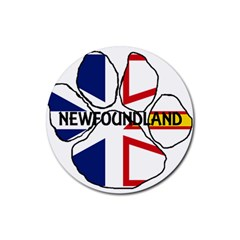 Newfoundland And Labrador Flag Name Paw Rubber Round Coaster (4 pack)