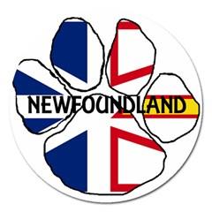 Newfoundland And Labrador Flag Name Paw Magnet 5  (Round)