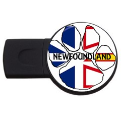Newfoundland And Labrador Flag Name Paw USB Flash Drive Round (2 GB)