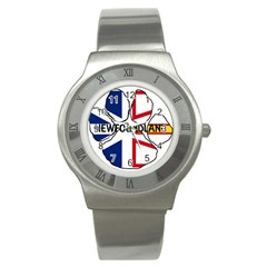 Newfoundland And Labrador Flag Name Paw Stainless Steel Watch