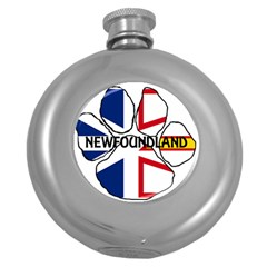 Newfoundland And Labrador Flag Name Paw Round Hip Flask (5 oz)