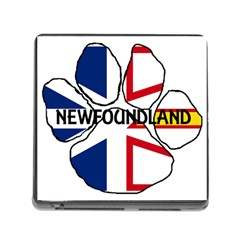 Newfoundland And Labrador Flag Name Paw Memory Card Reader (Square)