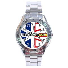 Newfoundland And Labrador Flag Name Paw Stainless Steel Analogue Watch