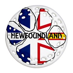 Newfoundland And Labrador Flag Name Paw Ornament (Round Filigree)