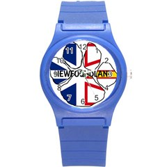 Newfoundland And Labrador Flag Name Paw Round Plastic Sport Watch (S)
