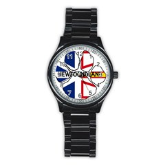 Newfoundland And Labrador Flag Name Paw Stainless Steel Round Watch