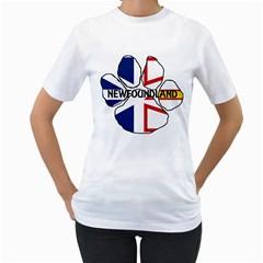 Newfoundland And Labrador Flag Name Paw Women s T-Shirt (White)
