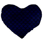 SCALES1 BLACK MARBLE & BLUE LEATHER (R) Large 19  Premium Flano Heart Shape Cushion Front