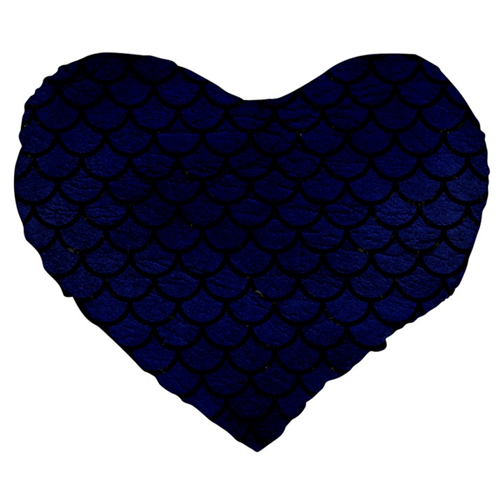 SCALES1 BLACK MARBLE & BLUE LEATHER (R) Large 19  Premium Flano Heart Shape Cushion