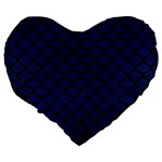 SCALES1 BLACK MARBLE & BLUE LEATHER (R) Large 19  Premium Flano Heart Shape Cushion Back