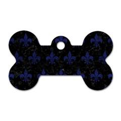 RYL1 BK-MRBL BL-LTHR (R) Dog Tag Bone (Two Sides)