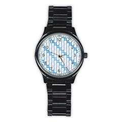 Batik Pattern Stainless Steel Round Watch