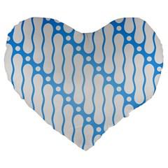 Batik Pattern Large 19  Premium Flano Heart Shape Cushions