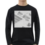 Design Grafis Pattern Long Sleeve Dark T-Shirts Front
