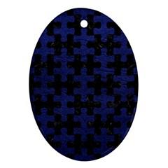 PUZ1 BK-MRBL BL-LTHR Oval Ornament (Two Sides)