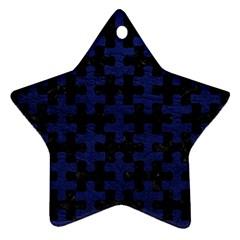 PUZ1 BK-MRBL BL-LTHR Star Ornament (Two Sides)