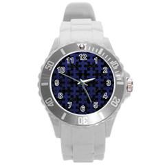 PUZ1 BK-MRBL BL-LTHR Round Plastic Sport Watch (L)