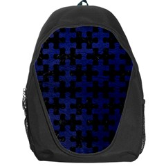 Puzzle1 Black Marble & Blue Leather Backpack Bag