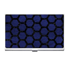 Hexagon2 Black Marble & Blue Leather (r) Business Card Holder
