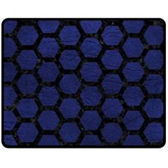 Hexagon2 Black Marble & Blue Leather (r) Fleece Blanket (medium)