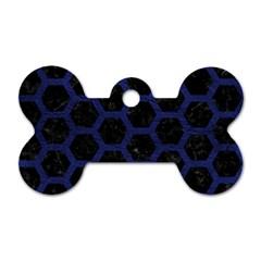 HXG2 BK-MRBL BL-LTHR Dog Tag Bone (Two Sides)