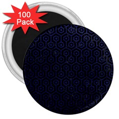 Hexagon1 Black Marble & Blue Leather 3  Magnet (100 Pack)
