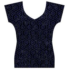 HXG1 BK-MRBL BL-LTHR Women s V-Neck Cap Sleeve Top