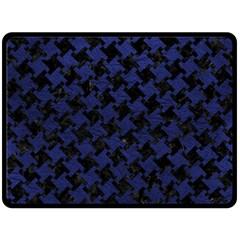 HTH2 BK-MRBL BL-LTHR Double Sided Fleece Blanket (Large)